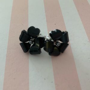 Black and silver large flower earrings